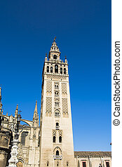 Seville Cathedral with the Giralda Tower in Seville called,...