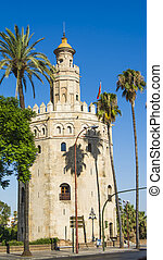 View of the Torre del Oro in Seville, Spain, Europe