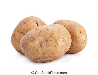 Potatoes vegetable closeup isolated on white background