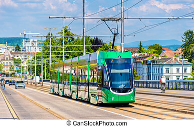 Tram on Wettstein Bridge in Basel, Switzerland