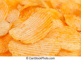 Ribbed potatoes snack with pepper isolated on white