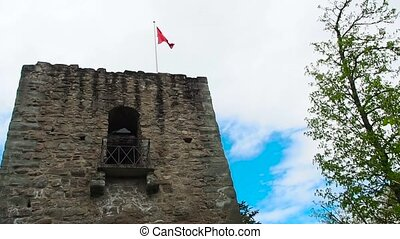 Swiss flag in the ruins of the old castle.