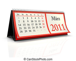 German desktop Calendar 2011 March - High resolution German...
