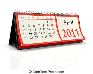 German desktop Calendar 2011 April - High resolution German...