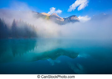Misty morning in the Emerald Lake