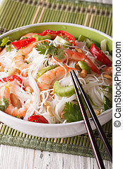 Thai salad with glass noodles, prawns and vegetables...