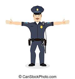 Good friendly cop. happy Policeman. Funny Face Constable....