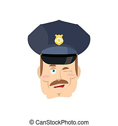 Policeman winks. Good cop. Mimicry smile on face of...