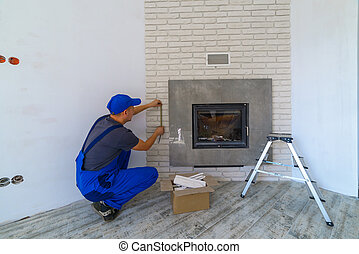 fireplace - Fireplace installing in white brick wall