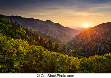 Newfound Gap in the Smoky Mountains - Sunset at the Newfound...