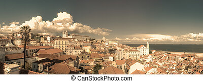 Vintage panoramic image of central Lisbon, Portugal