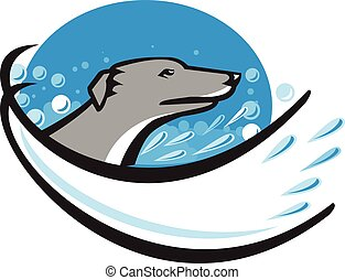 Greyhound Dog Head Water Bubble Oval Retro