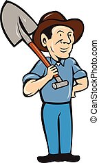 Farmer Shovel Shoulder Standing Cartoon - Illustration of an...