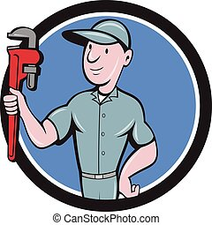 Handyman Monkey Wrench Circle Cartoon - Illustration of a...