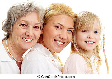 Generation - Conceptual image of old lady, young woman and...