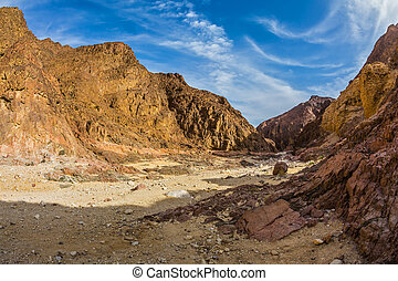 Black canyon in ancient Eilat mountains - Israeli warm...