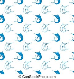 Set of Fish. Marlin Seamless Pattern - Set of Fish Isolated...