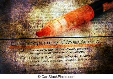 Emergency checklist grunge concept