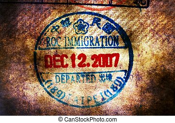 Chinese immigration stamp grunge concept