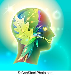Profile of the head of man as nature - Vector Graphics...
