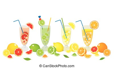 Mojito cocktails and_fruits - Vector collection of citrus...