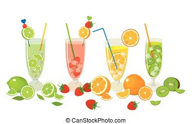 Fruits with Mojito cocktails - Vector collection of fresh...