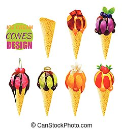 Ice Cream Cones. Vector Design. Different Flavors.