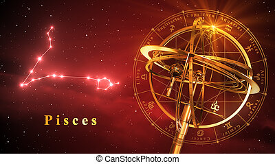 Armillary Sphere And Constellation Pisces Over Red...