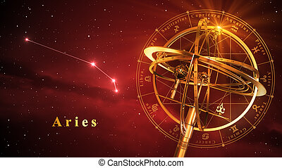 Armillary Sphere And Constellation Aries Over Red Background...