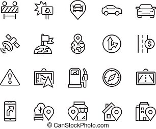 Line Navigation Icons - Simple Set of Navigation Related...