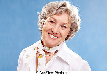 Grey-haired woman - Portrait of stylish woman grey haired...