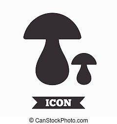 Mushroom sign icon. Boletus mushroom symbol. Graphic design...