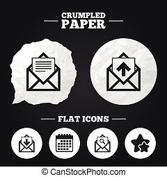 Mail envelope icons. Message document symbols. - Crumpled...