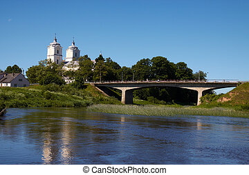Homeland charm - Lithuanian landscape with river, bridge and...