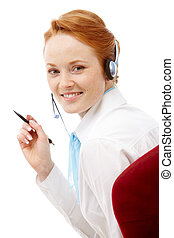 How can I help you - Image of an attractive young telesales...