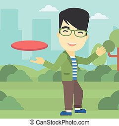 Man playing flying disc vector illustration. - An asian...