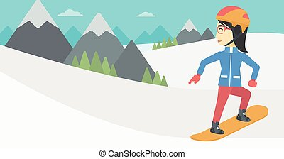 Young woman snowboarding vector illustration - An asian...