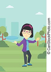 Woman playing flying disc vector illustration. - An asian...