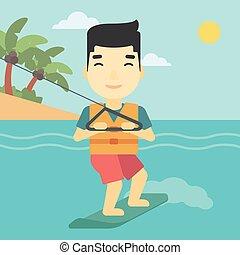 Professional wakeboard sportsman. - An asian sportsman...