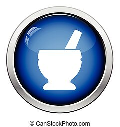 Mortar and pestle icon Glossy button design Vector...