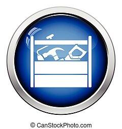 Retro tool box icon Glossy button design Vector illustration...