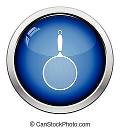 Kitchen colander icon. Glossy button design. Vector...
