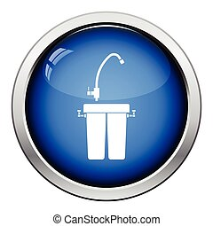 Water filter icon Glossy button design Vector illustration...