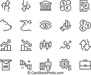 Line Stock Market Icons - Simple Set of Stock Market Related...