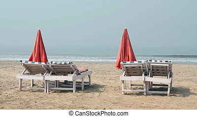 Chairs with Umbrella near the Beach
