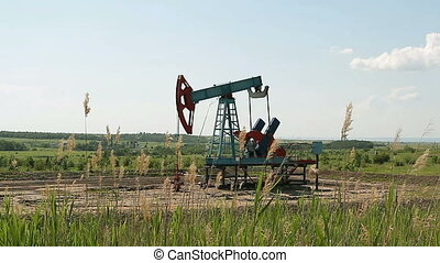 Work of oil pump jack on  oil field