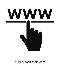 Hand cursor and website icon, simple style - Hand cursor and...