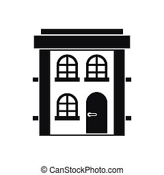 Two-storey residential house icon, simple style
