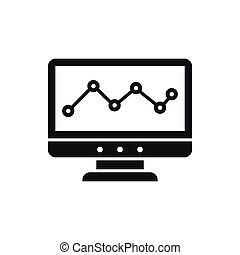 Graph in computer screen icon, simple style - Graph in...
