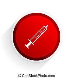 medicine flat icon with shadow on white background, red...